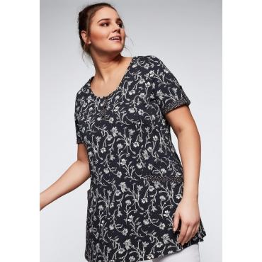 Große Größen: Longshirt in A-Linie mit Blumendruck, anthrazit bedruckt, Gr.44/46-56/58