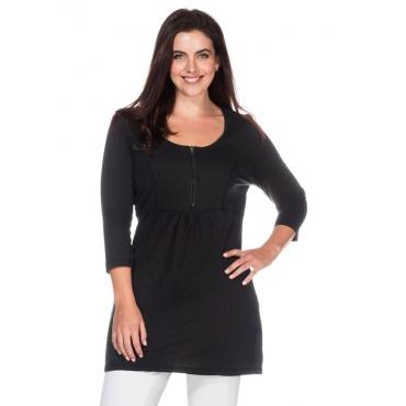 Große Größen: Longshirt in leichter A-Linie, schwarz, Gr.40/42-56/58