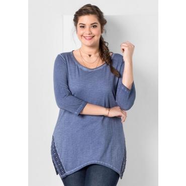 Große Größen: Longshirt in Oil-washed-Optik, rauchblau, Gr.44/46-56/58