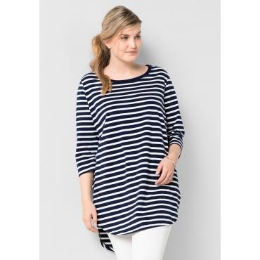 Longshirt in Oversize-Form mit Streifen, marine-weiß, Gr.40/42-56/58