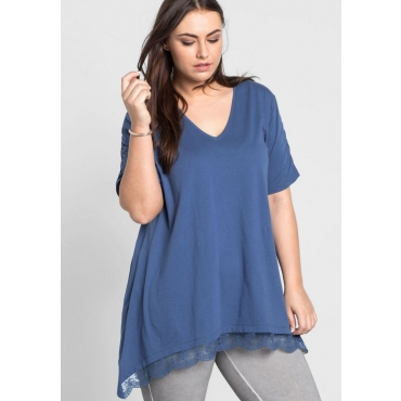 Große Größen: Longshirt in Zipfelform, rauchblau, Gr.44/46-56/58