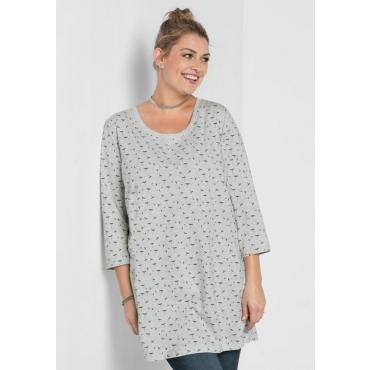 Große Größen: Longshirt mit Alloverdruck, grau meliert, Gr.40/42-56/58