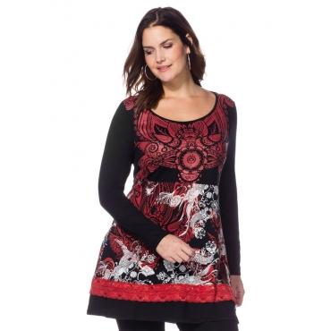 Große Größen: Longshirt mit Alloverdruck, schwarz-rot, Gr.40/42-56/58