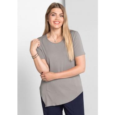 Große Größen: Longshirt mit asymmetrischem Saum, hellgrau, Gr.40/42-56/58