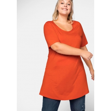 Longshirt mit ausgestelltem Saum, orange, Gr.44/46-56/58