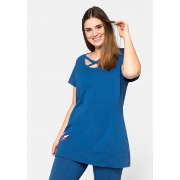 Große Größen: Longshirt mit Blütenapplikation, blau, Gr.44/46-56/58