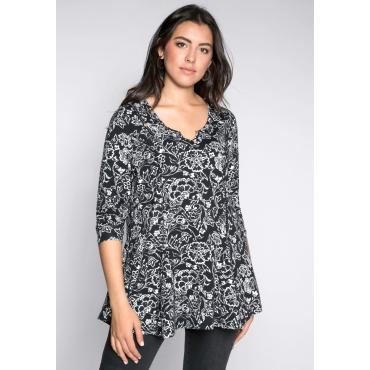 Große Größen: Longshirt mit floralem Alloverdruck, schwarz-weiß, Gr.44/46-56/58