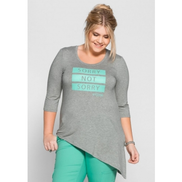 Große Größen: Longshirt mit Frontdruck, grau meliert, Gr.40/42-56/58
