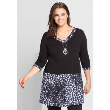Große Größen: Longshirt mit Rockteil, schwarz bedruckt, Gr.44/46-56/58