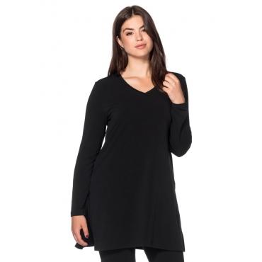 Große Größen: Longshirt mit Seitenschlitzen, schwarz, Gr.40/42-56/58