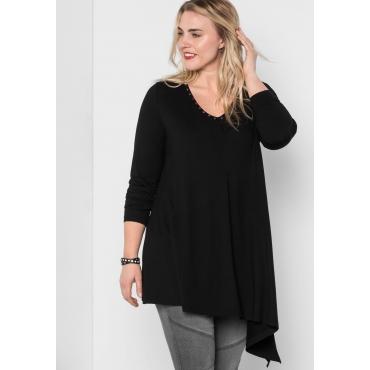 Große Größen: Longshirt mit Zipfel, schwarz, Gr.44/46-56/58
