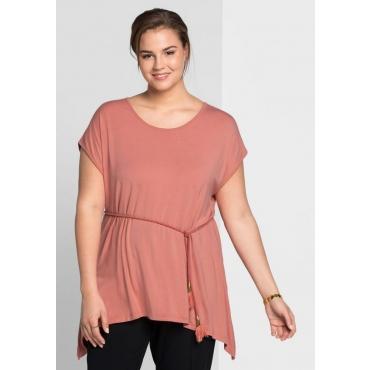 Große Größen: Longshirt mit zipfeligem Saumabschluss, lachs, Gr.44/46-56/58