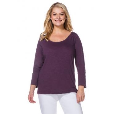 Große Größen: Longshirt mit Zipper, dunkellila, Gr.40/42-56/58
