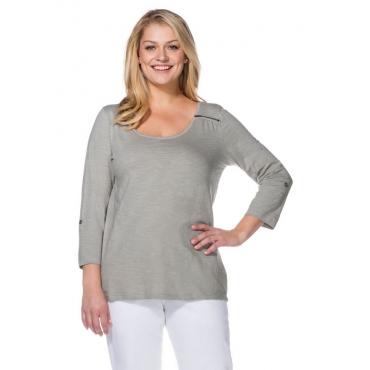 Große Größen: Longshirt mit Zipper, hellgrau, Gr.40/42-56/58