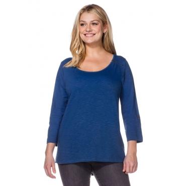 Große Größen: Longshirt mit Zipper, indigo, Gr.40/42-56/58