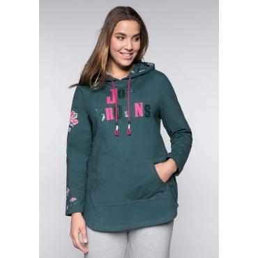 Große Größen: Longsweatshirt mit Kapuze und Kängurutasche, grün meliert, Gr.44/46-56/58