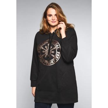 Große Größen: Longsweatshirt mit Kapuze, schwarz, Gr.44/46-56/58