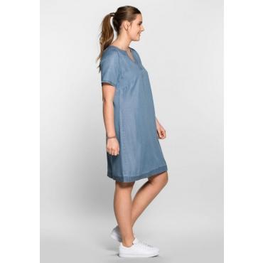 Große Größen: Lyocell-Kleid im sportiven Design, blue Denim, Gr.40-58