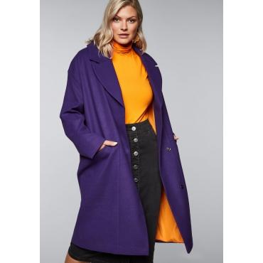 Große Größen: Mantel im Oversizedschnitt mit tiefem Reverskragen, lila, Gr.44-58