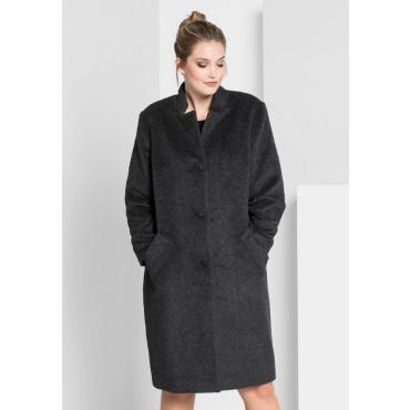 Große Größen: Mantel in Oversize-Form, grau meliert, Gr.40-58
