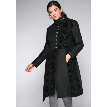 Große Größen: Mantel in Patchoptik mit Zipfelsaum, schwarz, Gr.44-58