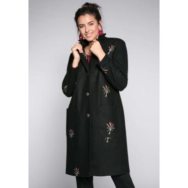 Große Größen: Mantel in Wolloptik mit Stickereien, schwarz, Gr.44-58