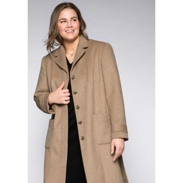 Große Größen: Mantel in Wolloptik mit verdeckter Knopfleiste, camelfarben, Gr.44-58