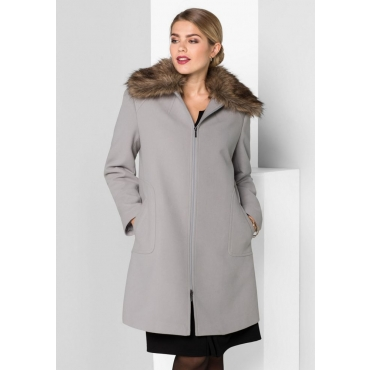 Große Größen: Mantel mit abnehmbarem Kragen, hellgrau, Gr.40-58