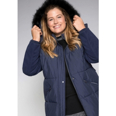 Große Größen: Mantel mit abnehmbarer Kapuze, marine, Gr.44-58