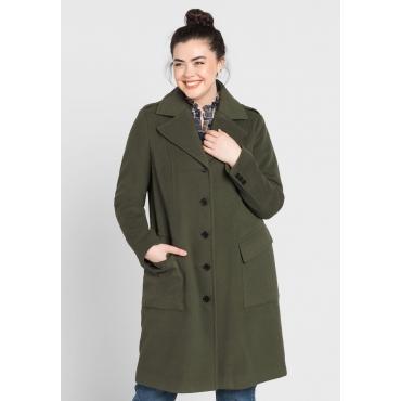 Große Größen: Mantel mit Ellenbogenpatches, dunkelkhaki, Gr.44-58