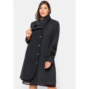 Mantel mit großem Kragen und Zierborte, anthrazit, Gr.44-58