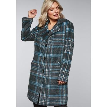 Große Größen: Mantel mit Karomuster und Knopfleiste, blau, Gr.44-58