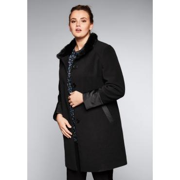 Große Größen: Mantel mit Kontrast-Patches, schwarz, Gr.44-58