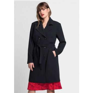 Große Größen: Mantel mit Reverskragen, schwarz, Gr.40-58