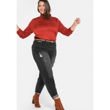Mom-Jeans mit Destroyed-Effekten und Formbund, black Denim, Gr.44-58