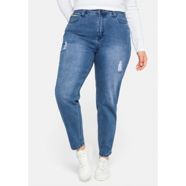 Mom-Jeans mit Destroyed-Effekten und Formbund, blue Denim, Gr.44-58