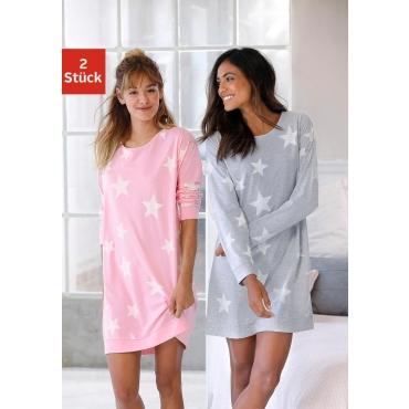 Große Größen: Nachthemd, grau+rosa, Gr.40/42-56/58
