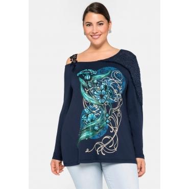 One-Shoulder-Shirt mit Spitze, dunkelblau, Gr.44/46-56/58