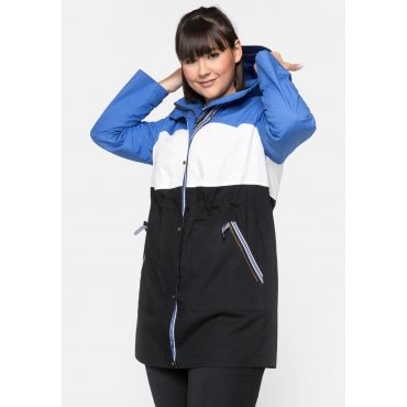 Outdoorjacke mit Kapuze in Colour-Blocking-Optik, schwarz-blau, Gr.44-58