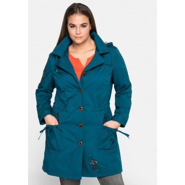 Outdoorjacke in Trenchcoat-Optik, mit Stickereien, dunkeltürkis, Gr.44-58