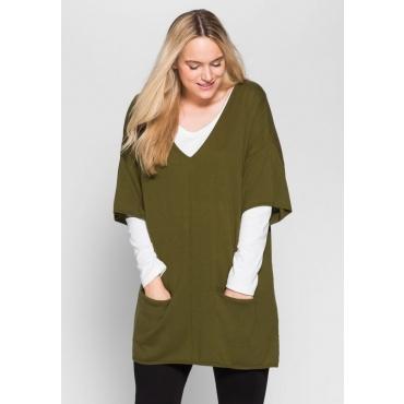 Große Größen: Oversize-Pullover, lorbeer, Gr.40/42-56/58