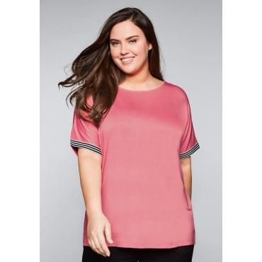 Große Größen: Oversize-Shirt mit überschnittenen Schultern, korallrot, Gr.44/46-56/58
