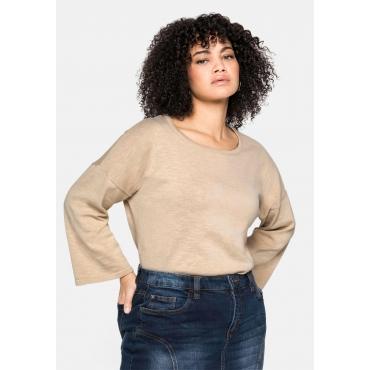 Oversized-Pullover mit 7/8-Trompetenärmeln, beigefarben, Gr.40/42-56/58