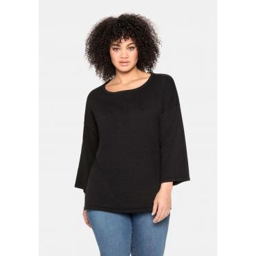 Oversized-Pullover mit 7/8-Trompetenärmeln, schwarz, Gr.40/42-56/58