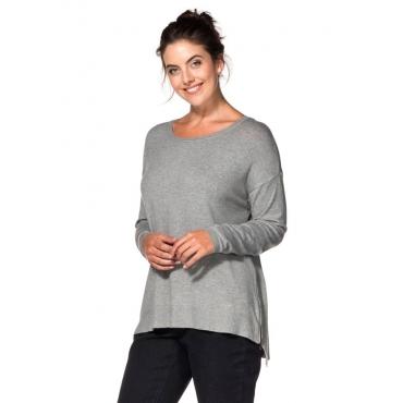 Große Größen: Oversized Pullover mit Zipper, grau meliert, Gr.40/42-56/58