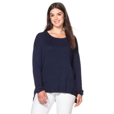 Große Größen: Oversized Pullover mit Zipper, marine, Gr.40/42-56/58
