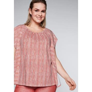 Oversized-Shirt mit Streifendruck, terrakotta-weiß, Gr.44/46-56/58