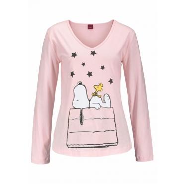 Große Größen: Peanuts Langer Pyjama im niedlichen Snoopy-Design, rosa bedruckt, Gr.40/42-56/58