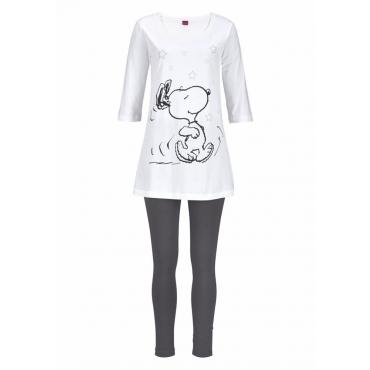 Große Größen: Peanuts Pyjama mit Leggings und legerem Shirt mit Snoopyprint, ecru, Gr.40/42-56/58