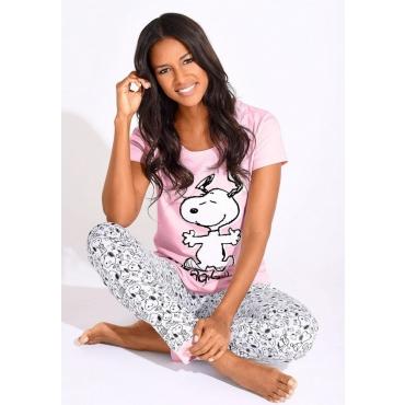 Große Größen: Peanuts Pyjama mit Snoopy-Print in N-Größen, rosé-grau, Gr.40/42-56/58